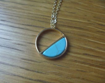 Graphic gold and turquoise necklace