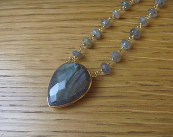 Necklace 40 cm and 2.5 cm stone labradorite gemstone
