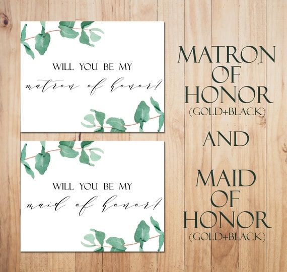 Will You Be My Matron Of Honor Card Printable Maid Of Honor