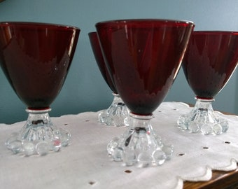 Red Anchor Hocking Boopie cordial glasses lot of 4