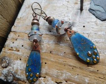 Earrings Bohemian and romantic, enamels on copper, lampwork beads, handmade.