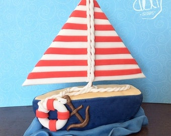 Edible Fondant Sailor Boat Cake Topper