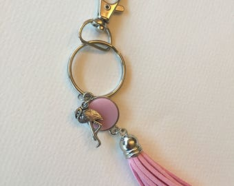 Pink Flamingo Tassel Keychain and Lanyard