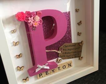 Christening personalised frame, baptism, christening gift, hand painted, flowers, girls christening, scrabble tiles, initials, letter frame