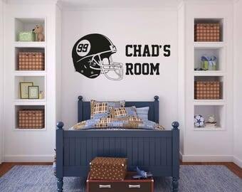 Personalised Football Helmet - Wall Decal Wall Sticker - Home - Games Room - Boys Room - Gamer - Football - Xbox - Sports