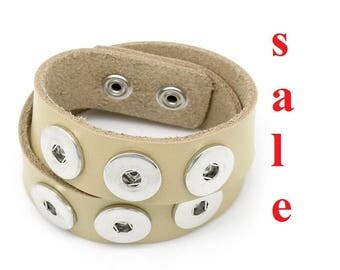 SALE! Bracelet, Bead Bracelet, leather bracelet for push buttons, button, button button, Gr. L