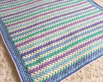 Handmade crochet baby blanket, cot blanket, pram blanket, lap blanket, granny stripe blanket