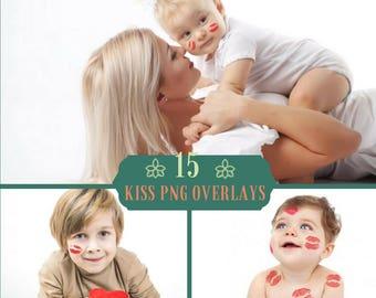 15 Kisses Overlays, Kiss Overlay, Photoshop overlay, Valentines Overlays, Wedding Overlays, Lipstick kiss, PNG files, Baby, Digital Backdrop