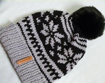 Knitted cap, Norwegian pattern, Fair Isle, Kunstfellbommel, Grey, black, winter cap, bobble, poodle cap, unisex
