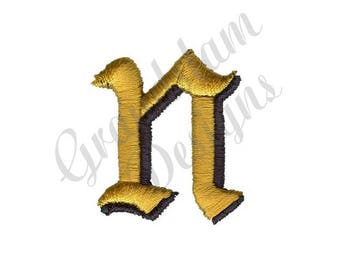 Old English Letter N - Machine Embroidery Design
