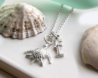 Personalised Sterling Silver Turtle Necklace