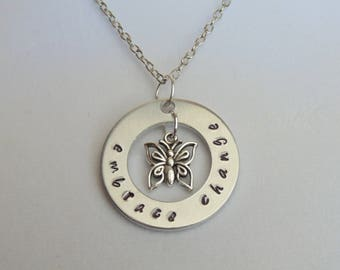 Embrace Change Stamped Metal Washer Necklace with Silver Butterfly Charm; Aluminum; Keychain