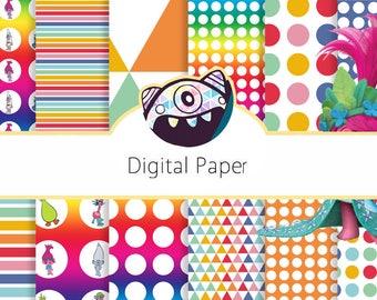 Trolls Digital paper pack Trolls Digital Paper Trolls scrapbook papers Trolls background Trolls digital papers Trolls PRINTABLE DG18