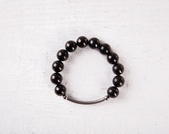 "AUTHENTIC Shungite  Bracelete Round beads 7""  Metal Summer Collection EMF Protection Bracelet Schungit Chakra Balancing Health"