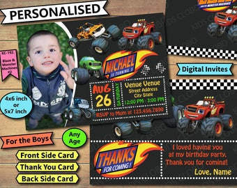 Blaze and the Monster Machines Invitation, Blaze and the Monster Machines Birthday, Blaze and the Monster Machines Invites, Blaze Invite