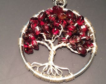 Valentina's Day Garnet Tree of Life Necklace Pendant with Artistic Wire Silver  Plated. Tarnish Resistant Silver. natural Pomegranate