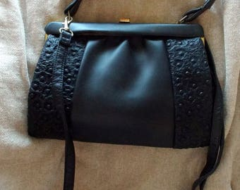 Vintage black part textured vinyl handbag with top handle and detachable shoulder strap