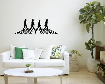 Beatles wall decal etsy for Beatles abbey road wall mural