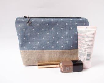 Trousse à maquillage - Lin et bleu jean à étoiles - pochette de toilette - grande trousse
