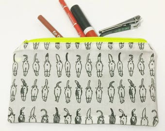 Cat Butt Zipper Pouch - makeup bag; pencil case; cosmetic bag; gadget case; birthday; coin purse; cat bum; kitty butt; kitty bum; cat tush