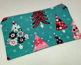 Pink Christmas Trees on Blue Novelty Zipper Pouch makeup bag; pencil case; gift for her; cosmetic bag; carry all; gadget case; birthday