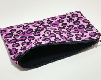 Purple Leopard Spots Novelty Zipper Pouch - makeup bag; pencil case; gift for her; cosmetic bag; carry all; gadget case;