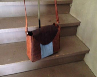 Handcrafted Leather and Denim Bag