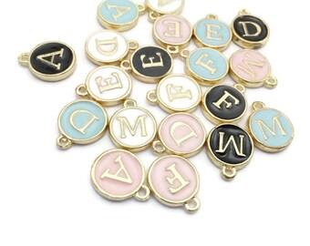 Letter Charms, Alphabet Charms, Initial Charms - Blue Round Letter Charms - Pink Letter Initials - Charm Pendant - Monogram Charm - DIY