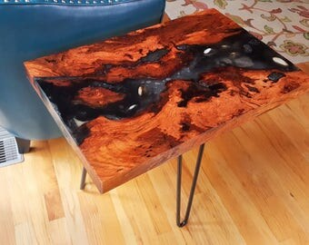 Live Edge Wood, Side Table, End Table, Coffee Table, Burl, Resin