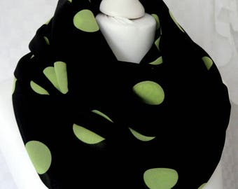 Polka dot infinity scarf, Black and lime polka dot scarf, Scarf for her, Lightweight scarf, Fashion scarf, Statement scarf