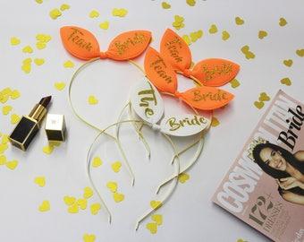 Bunny ears, Bridal Tiara, Bachelorette headband,BRIDAL SHOWER, Team Bride, Maid of Honor, Bridesmaid, Bride