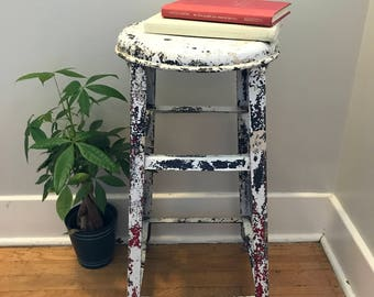 White Rustic Country Stool