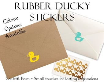 Rubber Ducky Stickers - Baby Showers - Removable Vinyl - Party Invitations - Envelope Sealing Stickers - Planner Stickers #75