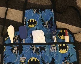 Batman kids apron with utensils