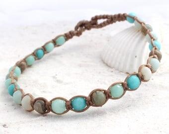 Macrame anklet - Ocean Tones - Beaded anklet - Macrame beaded anklet - Beach wear - Ankle bracelet - Anklet for women - Unisex anklet