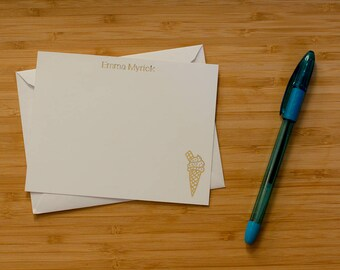 Ice cream cone personalized gold foil press stationery set of 10 with envelopes