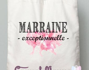 """Gift godmother or Godfather tote bag """"GODMOTHER exceptional"""" watercolor style pink"""