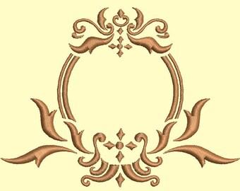 Monogram frame embroidery design