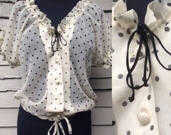 Vintage 80's Sheer Georgette Polka Dot Blouse ... UK Size 14  Vintage Eighties 1980's