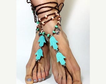 ON SALE 25%off hamsa hand Barefoot Sandals, Beach Jewelry, beach anklets, Hippie Sandals, Foot Jewelry, Toe Thong, festival accessories, bar
