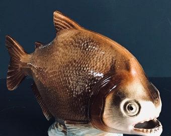 Vintage Art Ceramic Glazed Piranha Fish Figurine Marked #4103