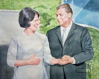watercolor painting-original portrait painting-custom painting-photo to painting-portrait painting-family portrait painting