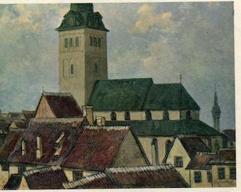 Estonia  Postcard  Painting of St Nicholas Church By Roman Nyman of Tallinn Estonia Vintage 1945