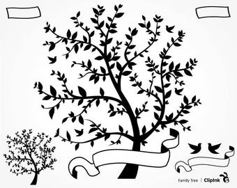 Family tree svg, Family tree clipart, family svg silhouette, family clipart  – svg, eps, png, dxf, pdf. Wall Print Die Cut Mug Shirt Decal