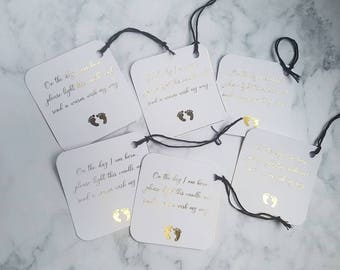 Baby Shower, Wish Tags, Baby Shower Favours, New Baby, Mum to be, Foiled Prints