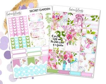 Secret Garden (EC) Kit - Planner Stickers Mambi Happy Planner Erin Condren Life Planner Kikkik Foxy Fix Personal TN