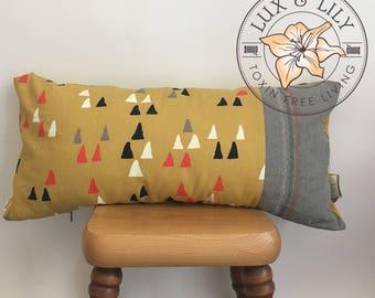 Organic Decor Pillow/ Large Lumbar Pillow/ Natural Latex/Organic Cotton Canvas/Aztec Pillow/Yellow Pillow