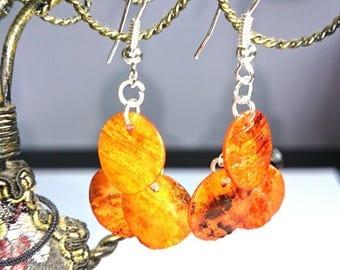 Orange sequins shells earrings
