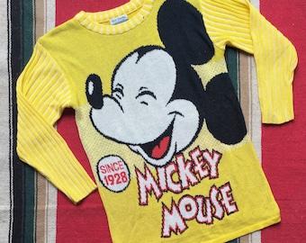 Vintage 80s Mickey Mouse Walt Disney  Knit Sweater