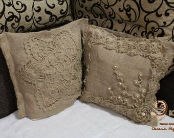 PILLOWCASE .Set for pillows.  Pillowcases from jute. Cushion covers. Set JUTE.SET.